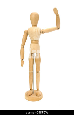 Waving wooden artists Mannequin over white - Stock Photo