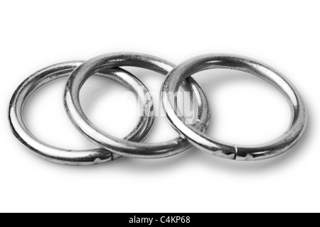 Three Round Washer Isolated On White Studio Shot - Stock Photo