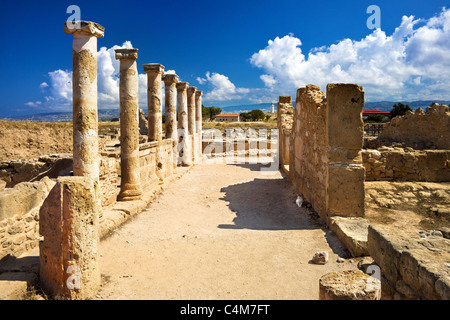 Roman columns, House of Theseus,Archaeological Park,Paphos,Pafos,Cyprus - Stock Photo