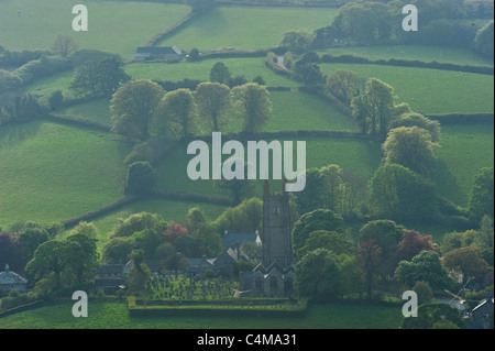 The 'Cathedral of the Moor' church in the village of Widecombe-in-the-Moor in Dartmoor National Park. - Stock Photo