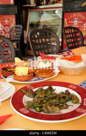 Selection of vegetarian Tapas in a city centre Tapas Bar, Malaga, Costa del Sol, Malaga Province, Andalucia, Spain, - Stock Photo