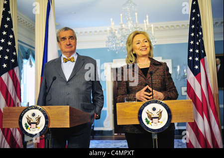 U.S. Secretary of State Hillary Rodham Clinton holds a joint press conference with Czech Foreign Minister Karel - Stock Photo