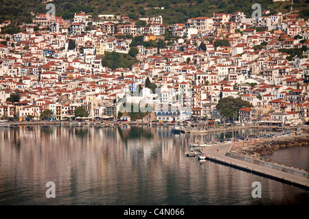Birds Eye view of Skopelos Town and harbour, Skopelos Island, Northern Sporades, Greece - Stock Photo
