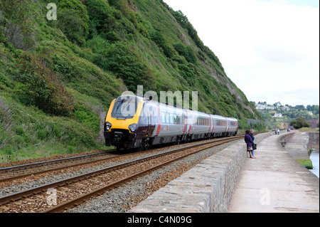 A cross country super voyager class 221 diesel train teignmouth devon england uk - Stock Photo