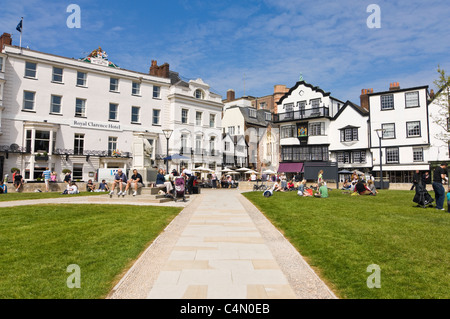 Horizontal wide angle view of Exeter's Cathderal Yard or Green, following redevelopment, on a bright sunny day. - Stock Photo
