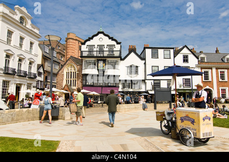 Horizontal view of Exeter's Cathderal Yard or Green, following redevelopment, on a bright sunny day. - Stock Photo