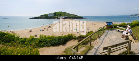 Horizontal panoramic view of Burgh Island at Bigbury-on-Sea on the South Devon coast on a sunny day. - Stock Photo