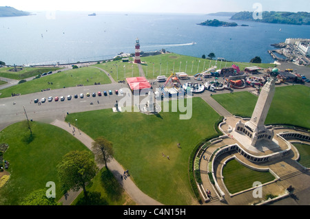 Horizontal aerial view of Smeatons Tower and the Royal Naval Memorial on Plymouth Hoe with Drake's Island and The - Stock Photo