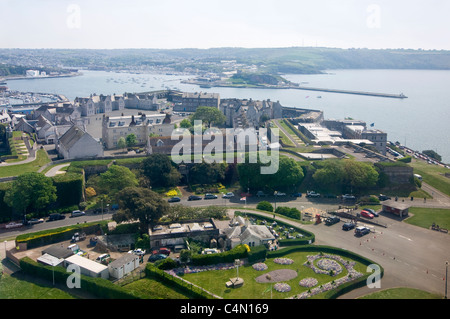 Horizontal aerial view across the Royal Citadel on Plymouth Hoe with the natural harbour behind in the distance. - Stock Photo