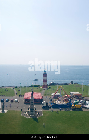 Vertical aerial view of Smeatons Tower on the promenade at Plymouth with The Sound behind. - Stock Photo