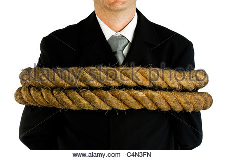 businessman tied up - Stock Photo