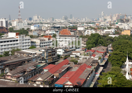 Bangkok, Thailand: view on the Pom Prap Sattru Phai district from the war saket temple on the golden mount - Stock Photo