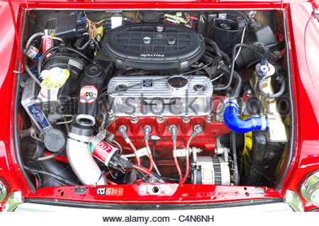 Engine of a Mini Cooper 1.3i at a vehicle rally in the UK. - Stock Photo