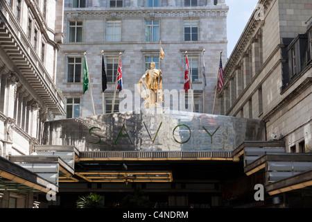 The Savoy hotel, the Strand, London, England - Stock Photo