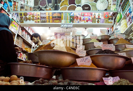 Drugstore with spices in the bazaar, Shiraz, Iran - Stock Photo