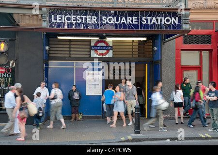 Entrance to the Leicester Square Tube station in Central London, UK. - Stock Photo