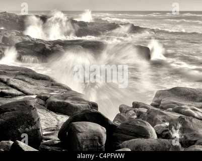 Storm waves crashing on shore. Smelt Sands State Park, Oregon - Stock Photo