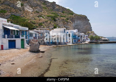 Brightly painted fishermen's houses in Klima,a traditional fishing village on the Cycladic Island Milos Greece - Stock Photo