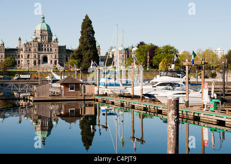 Inner Harbour and Parliament Building. Victoria, Vancouver Island, British Columbia, Canada. - Stock Photo