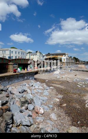 dawlish seafront with river entering the sea devon england uk - Stock Photo