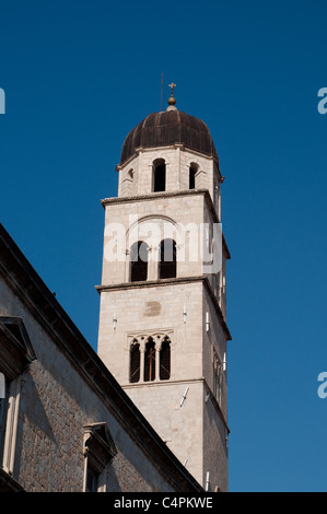 City bell tower on stradun the main street in dubrovnik - The house in the old franciscan tower ...
