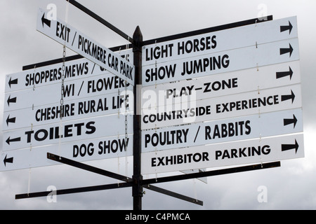 Signs and Locations for Events and Competitors at the Cheshire Game & Country Fair Show, Knutsford, UK - Stock Photo
