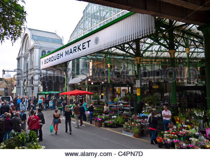 Borough Market a renowned popular international produce retail market London Bridge Southwark  London UK - Stock Photo