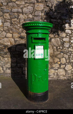Post box outside St Laurence's Gate, Drogheda, Co. Louth, Republic of Ireland - Stock Photo