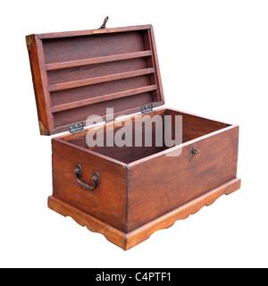 retro wooden chest box - Stock Photo
