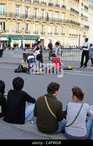 Paris France, fete de la musique paris, World Music Day in ILe Saint Louis - Stock Photo