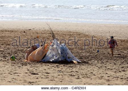 Morocco, Essaouira, child on the beach - Stock Photo