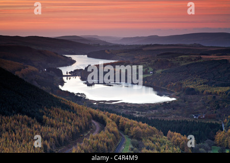 Sunrise at Pentwyn Reservoir and Pontsticill Reservoir, Brecon Beacons National Park, Wales Stock Photo