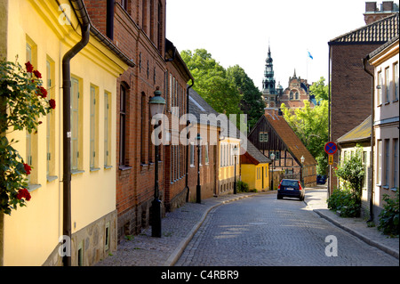 Street with cottages in Swedish university city of Lund, Sweden - Stock Photo
