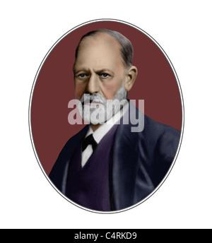 Sigmund Freud 1856 1939 Austrian Founder of Psychoanalysis Illustration - Stock Photo