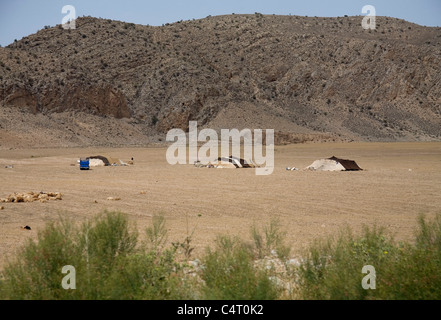 Nomadic tents between Tamar and Ashkhaneh (Golestan and Khorasan provinces, Iran) - Stock Photo