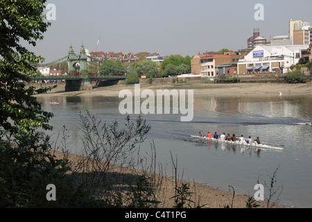 Rowing eight passing Hammersmith Bridge and Riverside Studios, River Thames, west London, England, Great Britain, - Stock Photo