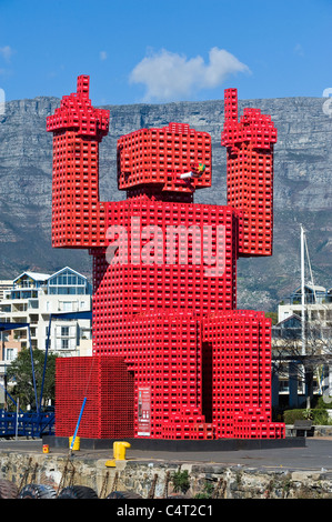 Elliot the Crate fan with Table Mountain view from V&A Waterfront in Cape Town South Africa - Stock Photo
