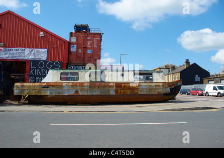Canal barge for sale (on the street) - Stock Photo