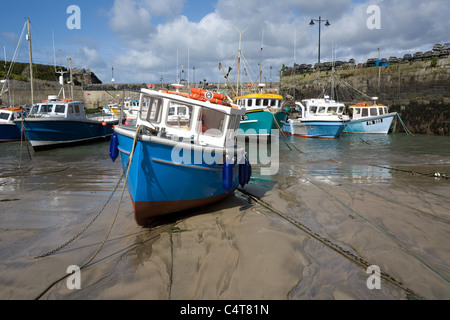 Boats in Newquay harbour, Cornwall, at low tide - Stock Photo