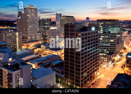 Austin, Texas Skyline at Sunset from 9th and Brazos - Stock Photo
