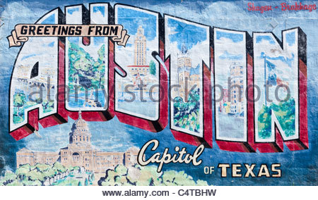 39 greetings from austin texas 39 postcard 1937 stock photo for Austin mural location