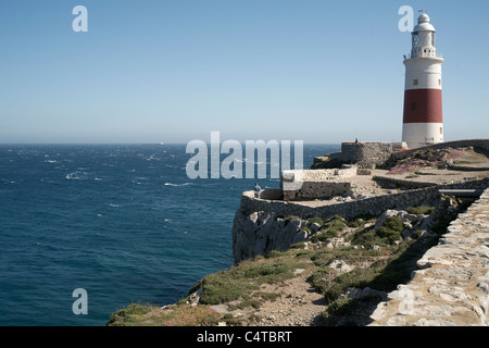 Lighthouse Europa Point Gibraltar maintained by Trinity House - Stock Photo