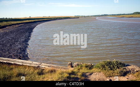 Butley River creek with muddy river bed, Boyton, Suffolk, England - Stock Photo