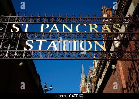 Old entrance to St Pancras Station (and St Pancras Renaissance Hotel), St Pancras, London, UK - Stock Photo