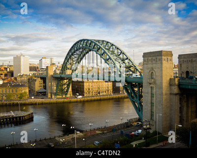 Tyne Bridge spanning the river Tyne to join Gateshead and Newcastle, UK. - Stock Photo