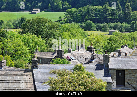 Rooftops of Gunnerside village in Swaledale, Yorkshire, England - Stock Photo