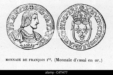 Coin from the time of Francis (François) I of France 12 September 1494 to 31 March 1547 was King of France from - Stock Photo