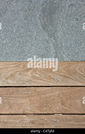 Wooden flooring and paving stone - Stock Photo