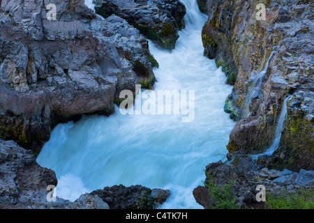 Barnafoss, Hvita River, Borgarfjordur, Iceland - Stock Photo
