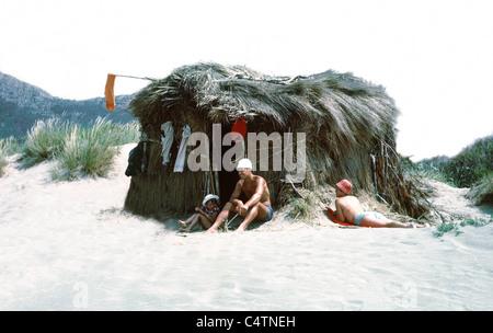 beachhut and family - Stock Photo